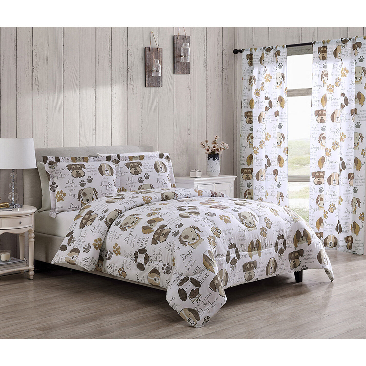 Twin, Full/Queen or King Dog Puppy Themed Pet Lover Comforter Bedding Set, Brown Bedding