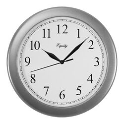 25206 Equity by La Crosse 10 Plastic Analog Wall Clock - Silver