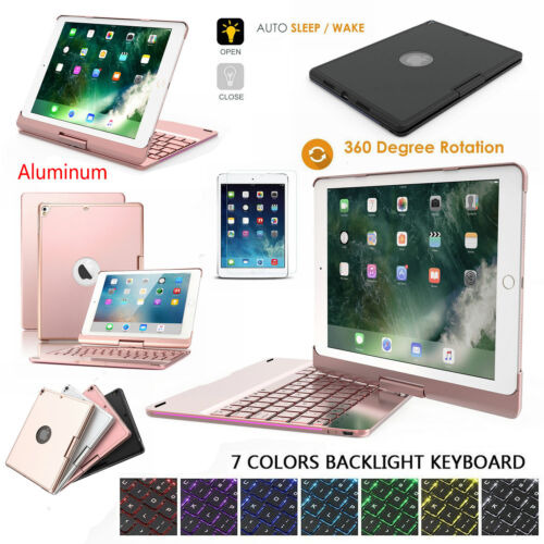 7 Colors Backlit Keyboard Rotating Case Cover For iPad 5th 9