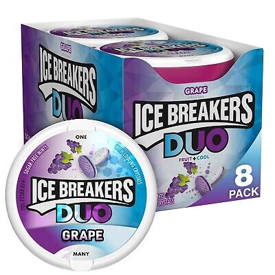 ICE BREAKERS Duo Sugar Free Mints, Grape, 1.3 Ounce (Pack of 8) Cool Grape