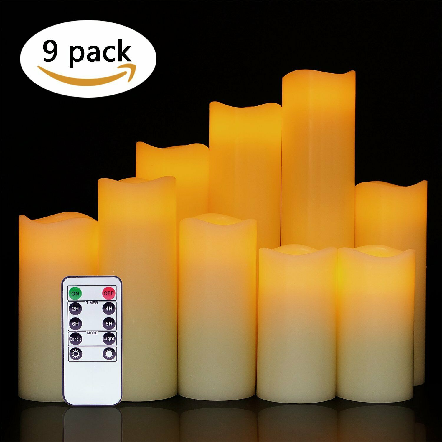 Dripping Flameless Candles Flickering LED Candles Set of 9 with Remote Control