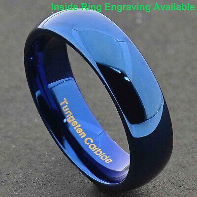 Blue IP Tungsten Carbide 6mm Wide Glossy Mirror Polished Wedding Band -