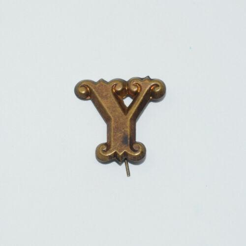 "Original Brass Zouave-Style Letter ""Y"" Hat Insignia - Civil War Era"