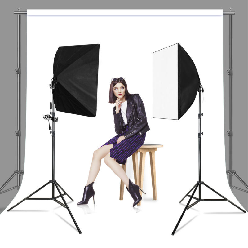 [2 Pack] Lighting Softbox Stand Photography Photo Equipment Light Kit
