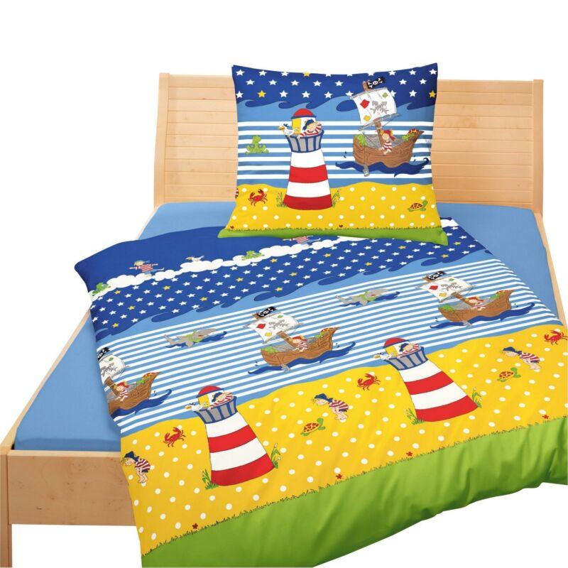 BETTWÄSCHE Kinderbettwäsche Pirat Leuchtturm Renforce 2337  80 x 80  135 x 200