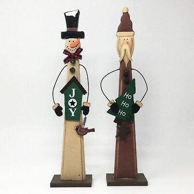 Wooden Primitive Santa and Snowman Decoration Rustic Christmas Winter - Wooden Snowman