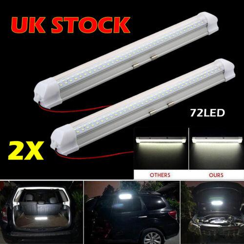 Car Parts - 2x 12V 72 LED Car Interior White Strip Lights Bar Lamp Car Van Caravan Boat Home