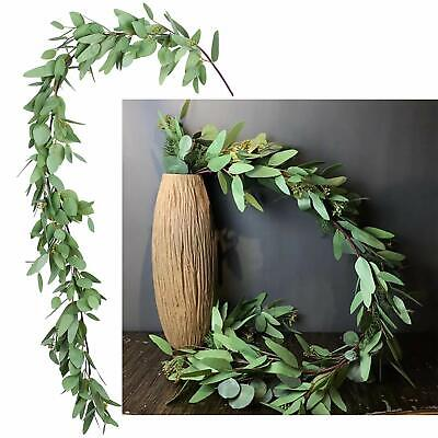 5.5Ft Seeded Eucalyptus Table Garland Artificial Vines Faux Eucalyptus Leaves ](Artificial Eucalyptus Garland)