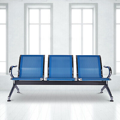 3 Seat Airport Waiting Chair Office Clinic Bench Salon Reception Room Chair Blue
