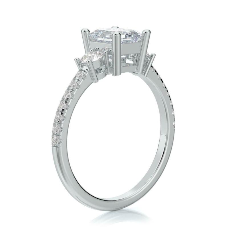 2.00 Ct G Si2 Emerald Cut Diamond Engagement Ring Set In 14k White Gold