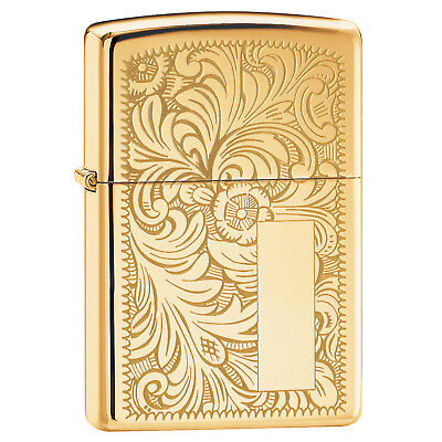 Zippo Solid Brass Lighter with Engraved Design on High Polis