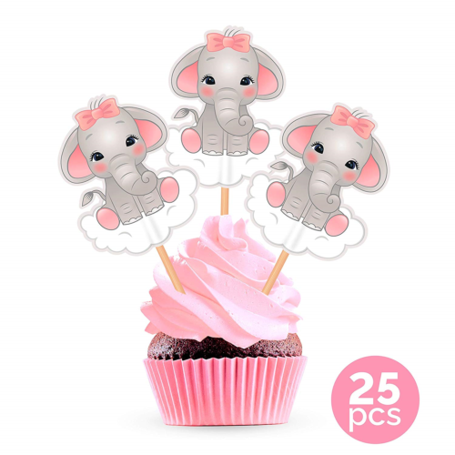 12 x Its A boy Cupcake Topper Elephants and Balloons Baby Shower Cup Cake