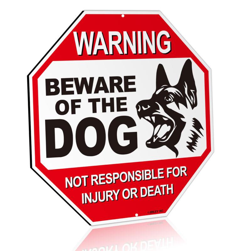 "Anley Beware of The Dog Aluminum Warning Sign - Warning Dog Sign 12""x12"""