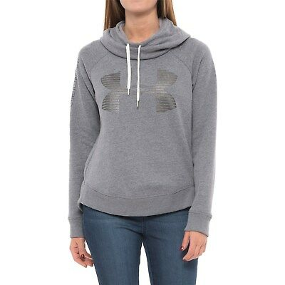 Under Armour Metallic Big UA Logo Fleece Lined Pullover Hoodie Womens GRAY sz S ()