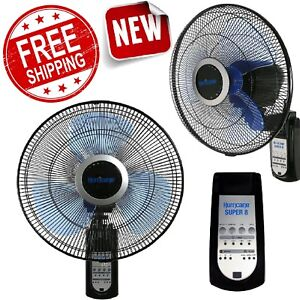 Wall Mount Fan Remote Control 3-Speed Oscillating Ventilator 16 Inch Air Cooler