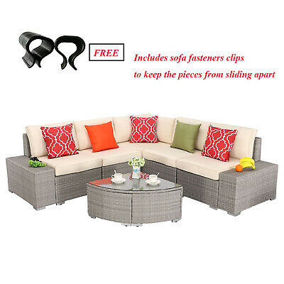 HTTH 6 PCS Outdoor Sectional Furniture Set Wicker Sofa Couch with Cushions Table