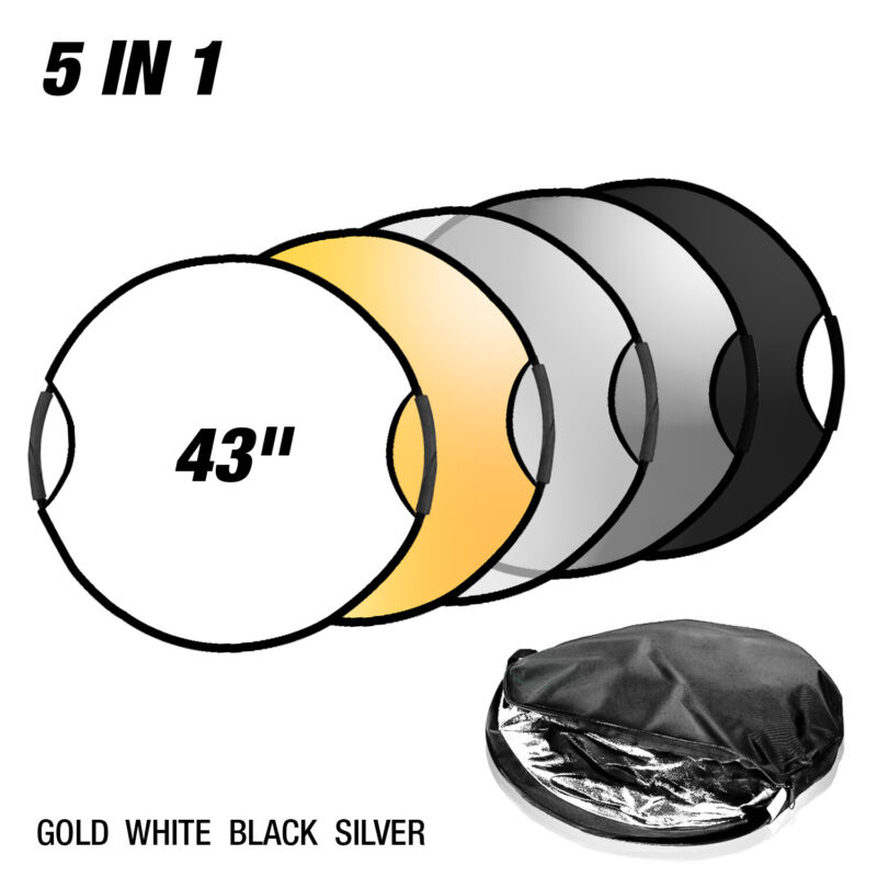 """43"""" 5 in 1 Photography Studio Multi Photo Disc Collapsible Light Reflector"""