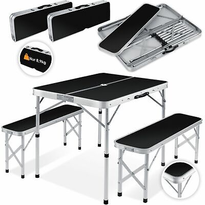 RETOURE Koffertisch 2 Sitzbänke Set Klapptisch Campingtisch Sitzgruppe Aluminium