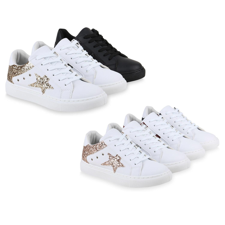 Damen Sneaker Low Turnschuhe Leder-Optik Freizeit Schuhe 820613 Trendy Neu