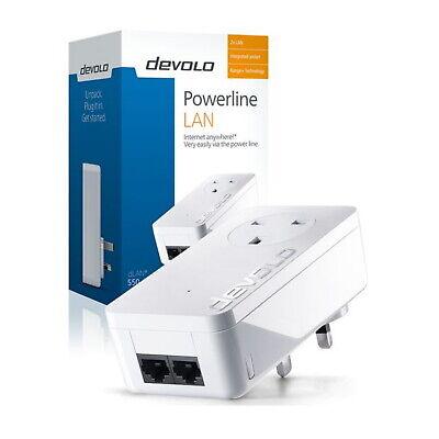 Devolo Powerline LAN Additional Plug Internet Adapter 2 Lan Port