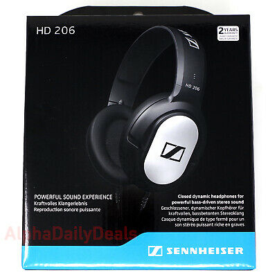 New Sennheiser HD 206 Wired Over Ear Headphones Closed-Back Bass Silver Black Sennheiser Silver Hd Headphone