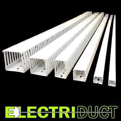 1x1 Open Slot Wire Duct - 6 Sticks - Total Feet 39ft - White - Electriduct