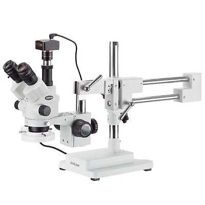 7x-45x Simul-focal Stereo Zoom Microscope On Boom Stand Fluorescent Light 3m
