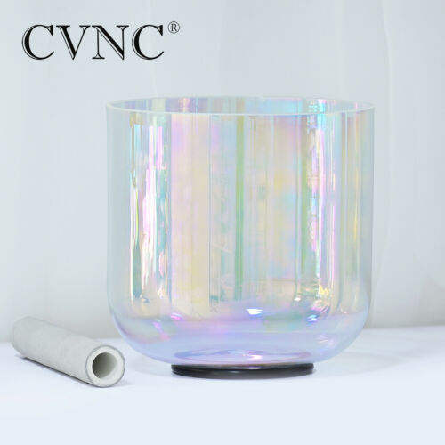 """432Hz 7"""" F Note Heart Chakra Cosmic Light Clear Crystal Singing Bowl 7 inch"""