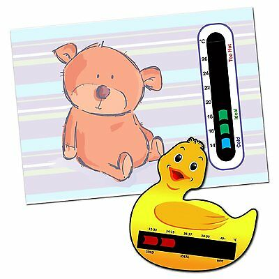 Baby & Child Thermometer Pack - Duck Baby Bath and Bear Baby Room Thermometers