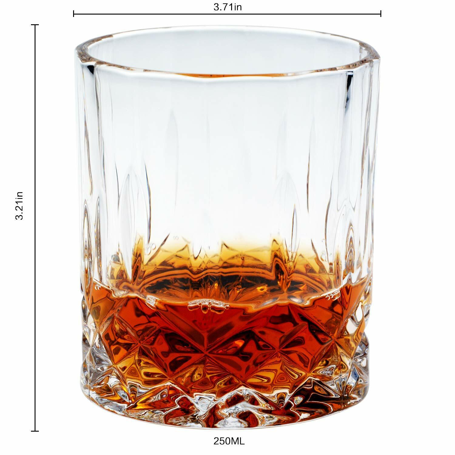 4 Whisky Glass Set 7.5 oz Lead Free Crystal Old Fashion Whiskey Crystal Glasses