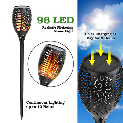 96LED Solar Tiki Torch Outdoor Garden Lamp Waterproof Flickering Flame Light  US](Led Tiki Torch)