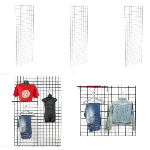 Display Grid Rack 3 Pack 5 ft White Retail Metal Stand Wall Store Wire Organizer
