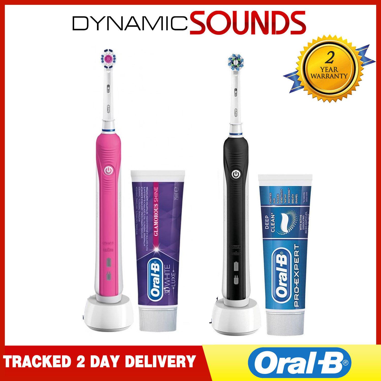 2 X Oral-B pro 650 Elektrische Zahnbürste 3D Action + Zahnpasta - Rosa & Schwarz