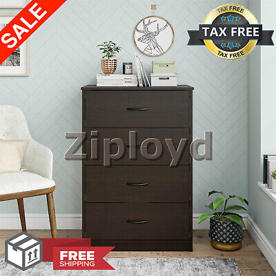 "40"" Tall 4-Drawer Modern Dresser Chest Bedroom Storage Wood Clothes Cabinet Set"
