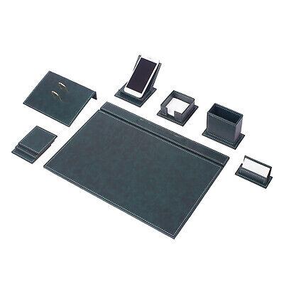 Vegan 9 Pcs Desk Set Desk Blotter Set Leather With Mobile Phone Holder In Green