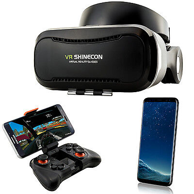 3D Brille VR Headset Virtual Reality für Samsung Galaxy S6 S7 Edge S8 + Gamepad
