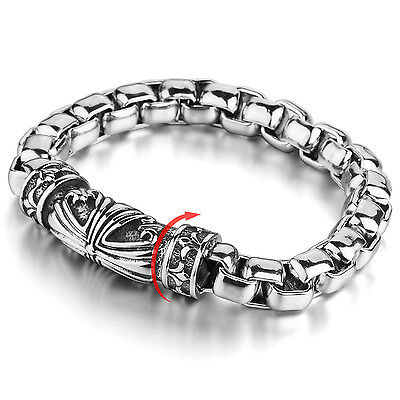 MENDINO Men's Stainless Steel Bracelet Rolo Chain Cross Magnetic Clasp Silver