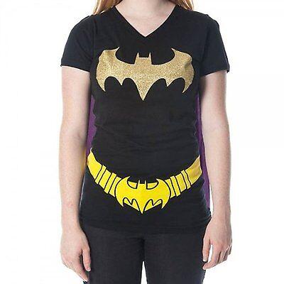 Batman Womens Shirt (DC Comics Batman Womens/Juniors V-Neck Caped Costume T-shirt)