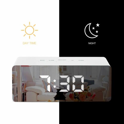 LED Digital Mirror Alarm Clock Night Lights Wall Clock With