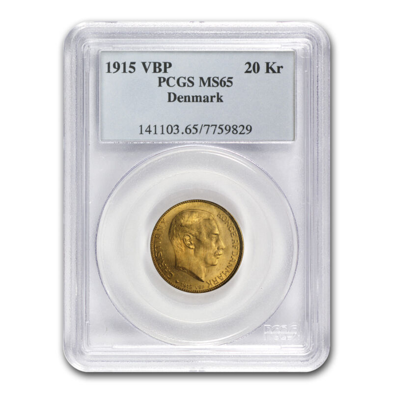 1873-1931 Denmark Gold 20 Kroner MS-65 NGC/PCGS (Random)