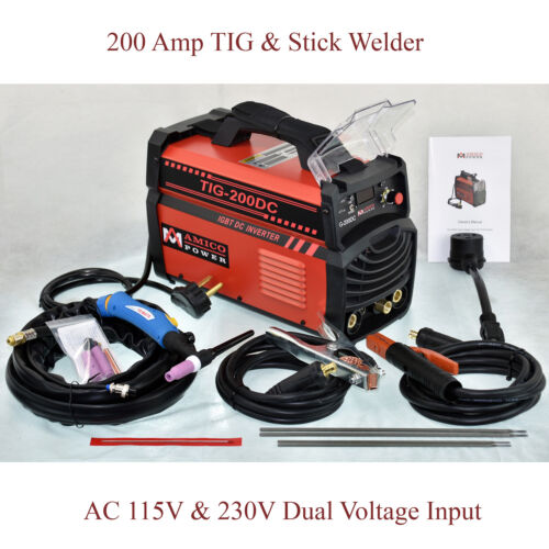 TIG-200DC, 200 Amp TIG-Torch, Stick Arc DC Welder 110/230V Inverter Welding New