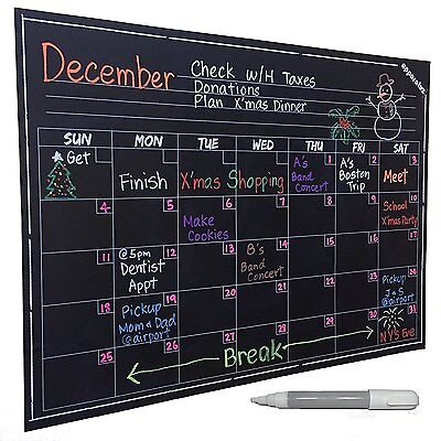 Wall Calendar - Large Chalkboard Decal. Smart Monthly Dry Erase Planner. Easy