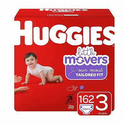HUGGIES Little Movers Diapers, Size 3 (16-28 lb.), 162 Ct, Economy Plus Pack