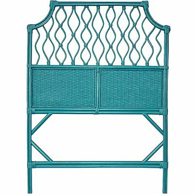 Boho Look Teal Blue Wicker Twin Size Headboard. Shabby Chic Rattan Single...