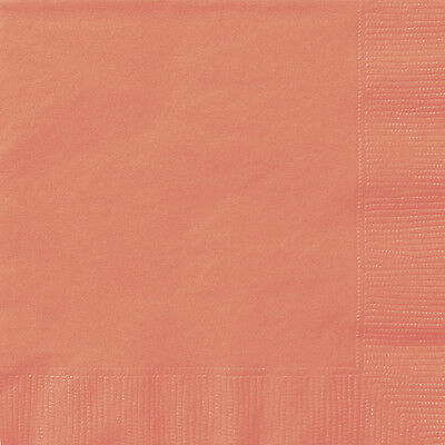 20 x Coral Peach Paper Napkins Coral Wedding Serviettes Tableware Great Value (Peach Paper Napkins)