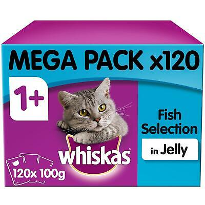 120 x 100g Whiskas 1+ Adult Wet Cat Food Pouches Mixed Fish in Jelly