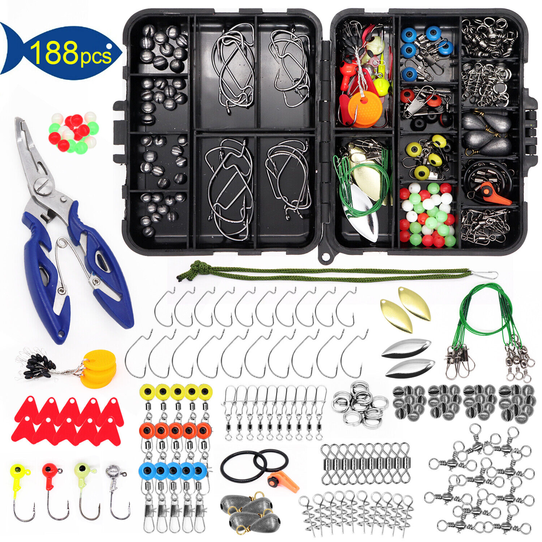 【188PCS】Fishing Accessories Kit set with Tackle Box Pliers Jig Hooks Swivels