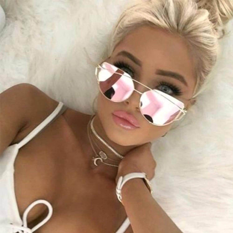 Oversized Cat Eye Sunglasses Flat Pink Mirrored Lens Metal F