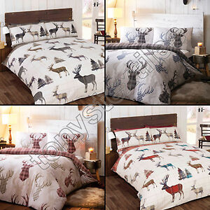 Tartan check stag deer animal quilt duvet cover natural grey single double king ebay - Housse de couette tartan ...