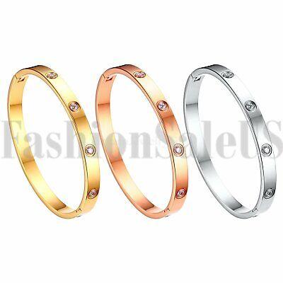 Ladies Zirconia Stones - Womens Ladies Simple Stainless Steel Zirconia Stone Bangle Bracelet Jewelry Gift